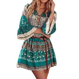 Kleid Damen,Binggong Frauen Blumendruck drei Viertel Lose Ärmel Boho Kleid Damen Elegant Abend Party Mode Beiläufiges Shirt Mini Schmetterlingshülse Kleid (Sexy Grün, XL) - 1