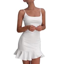 Kleid Damen,Binggong Frauen Dame Sexy Off Schulter Sleeveless Minikleid Rüschen Unregelmäßiges Kleid Reizvolle Hosenträgerkleid Elegant Kurzes Kleid Mode Mini Kleid Schlank Party Kleid (S, Weiß) - 1