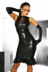 Kleid im Wet Look schwarz