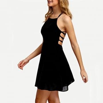 Kleid Internet Damen Party Cocktail Bandage rückenfreie Minikleid (S, schwarz) -