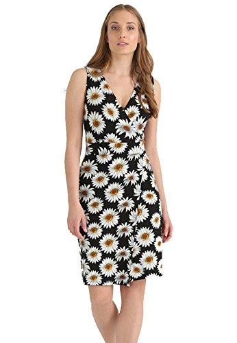 Kleid Knielang, gemustert und kurz für Damen - THE STYLE ROOM - Sommerkleid in Schwarz / Bunt, Cocktailkleid mit Blumen / Blumenmuster, Wickelkleid -