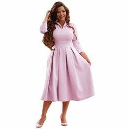 Kleid Langarm Damen Rosa Vokuhila Knielang Midi Petticoat Elegant Vintage Sexy Schickes A Linien Swing Rockabilly Tailliertes Lockeres - 1