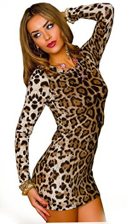 Kleid Leopard Leo Mini Kleid Minikleid Partykleid Gr. S/M 36 38 - 1