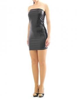 Kleid Mini Minikleid elegant Glanz Matt wie Leder Lack Optik figurbetont Glanz XXL/XXXL - 1