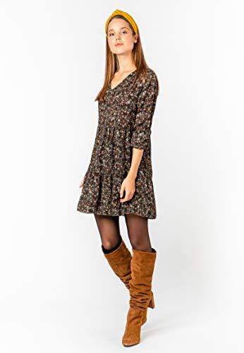 Kleid mit Blumenmuster Langarm für Herbst - Frühling grün 2