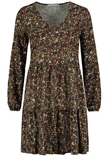 Kleid mit Blumenmuster Langarm für Herbst - Frühling grün 5