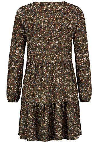 Kleid mit Blumenmuster Langarm für Herbst - Frühling grün 6