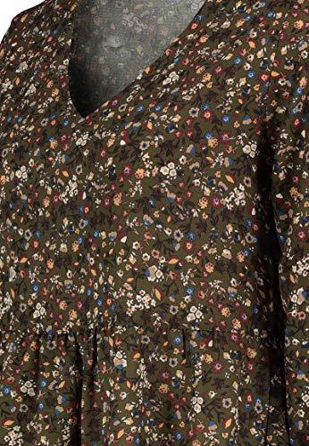 Kleid mit Blumenmuster Langarm für Herbst - Frühling grün 7