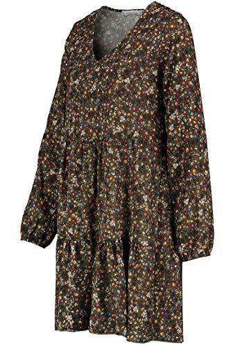 Kleid mit Blumenmuster Langarm für Herbst - Frühling grün 8
