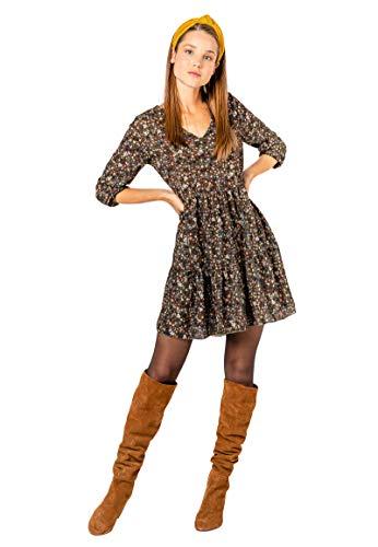 Kleid mit Blumenmuster Langarm für Herbst - Frühling grün