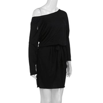 Kleider Abendkleid Cocktailkleid Off-Shoulder Kleid Bodyconkleid Partykleid Rockabilly Kleid Schulterfreis Minikleid Casual Kleid LMMVP (L, Schwarz) - 3