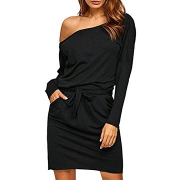 Kleider Abendkleid Cocktailkleid Off-Shoulder Kleid Bodyconkleid Partykleid Rockabilly Kleid Schulterfreis Minikleid Casual Kleid LMMVP (L, Schwarz) - 1