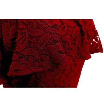 Kleider Abendkleid Off Schulter Cocktailkleid Bodyconkleid Spitzen Langes Brautjungfernkleid Basic Kleid Partykleid Rockabilly Kleid Casual Kleid Ballkleider Bleistift Kleid Strickkleid LMMVP (Rot, XXL) - 3