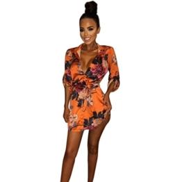 Kleider Damen PINEsong Frauen Kimono Vintage Retro Elegante Blumenmuster Satin Silk V-Ausschnitt T-Shirt Losen Bluse Sommerkleid Strandkleid Partykleid Pyjama Schlafkleid Bademantel (S, Orange) - 1