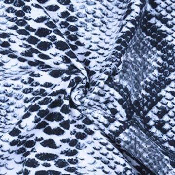 Kleider Damen Sommer Kurz Sexy Backless Spaghetti-Trägern Minikleid Sleeveless Schlangenhaut Partykleid Grau S - 6