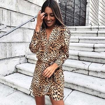 Kleider Damen V-Ausschnitt Cocktailkleid Winter Abendkleid Leopard Gedruckt Kleid Frauen Freizeitkleid Slim Fit Partykleider Groß Größe Strandkleid Btruely - 2