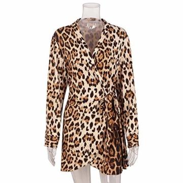 Kleider Damen V-Ausschnitt Cocktailkleid Winter Abendkleid Leopard Gedruckt Kleid Frauen Freizeitkleid Slim Fit Partykleider Groß Größe Strandkleid Btruely - 3