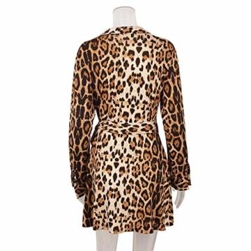 Kleider Damen V-Ausschnitt Cocktailkleid Winter Abendkleid Leopard Gedruckt Kleid Frauen Freizeitkleid Slim Fit Partykleider Groß Größe Strandkleid Btruely - 4