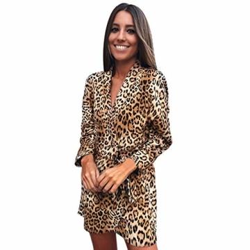 Kleider Damen V-Ausschnitt Cocktailkleid Winter Abendkleid Leopard Gedruckt Kleid Frauen Freizeitkleid Slim Fit Partykleider Groß Größe Strandkleid Btruely - 1