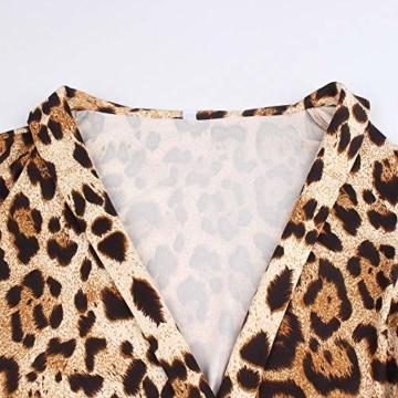 Kleider Damen V-Ausschnitt Cocktailkleid Winter Abendkleid Leopard Gedruckt Kleid Frauen Freizeitkleid Slim Fit Partykleider Groß Größe Strandkleid Btruely - 5
