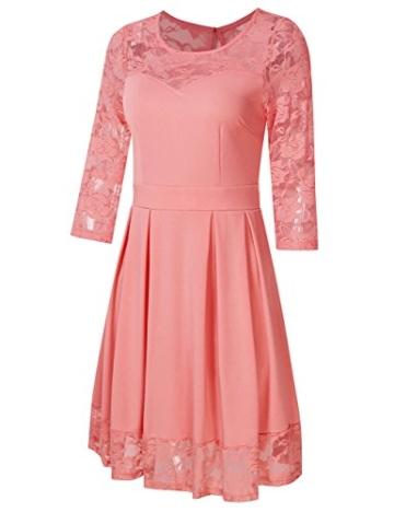 KOJOOIN Damen Elegant Kleider Spitzenkleid Langarm Cocktailkleid Knielang Rockabilly Kleid Pink Rosa XS - 2