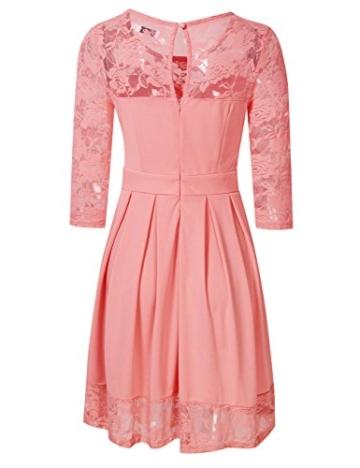 KOJOOIN Damen Elegant Kleider Spitzenkleid Langarm Cocktailkleid Knielang Rockabilly Kleid Pink Rosa XS - 3