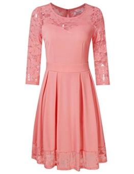 KOJOOIN Damen Elegant Kleider Spitzenkleid Langarm Cocktailkleid Knielang Rockabilly Kleid Pink Rosa XS - 1