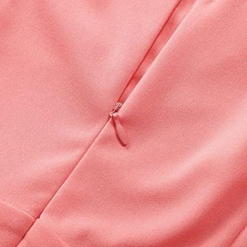 KOJOOIN Damen Elegant Kleider Spitzenkleid Langarm Cocktailkleid Knielang Rockabilly Kleid Pink Rosa XS - 5