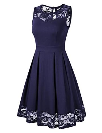 KOJOOIN Damen Elegant Kleider Spitzenkleid Ohne Arm Cocktailkleid Knielang Rockabilly Kleid Blau Dunkelblau XS - 2