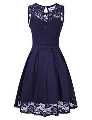 KOJOOIN Damen Elegant Kleider Spitzenkleid Ohne Arm Cocktailkleid Knielang Rockabilly Kleid Blau Dunkelblau XS - 3