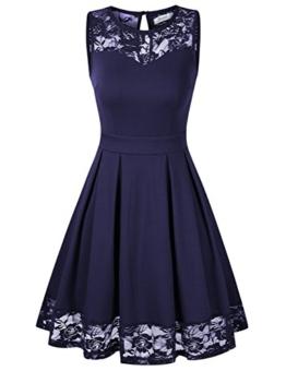 KOJOOIN Damen Elegant Kleider Spitzenkleid Ohne Arm Cocktailkleid Knielang Rockabilly Kleid Blau Dunkelblau XS - 1