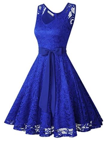 KOJOOIN Damen Vintage Kleid Brautjungfernkleid Knielang Spitzenkleid Cocktailkleid mit neum Gürtel Empire Blau XL - 2