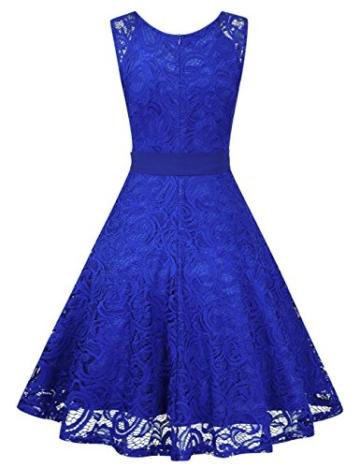 KOJOOIN Damen Vintage Kleid Brautjungfernkleid Knielang Spitzenkleid Cocktailkleid mit neum Gürtel Empire Blau XL - 3