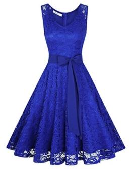 KOJOOIN Damen Vintage Kleid Brautjungfernkleid Knielang Spitzenkleid Cocktailkleid mit neum Gürtel Empire Blau XL - 1