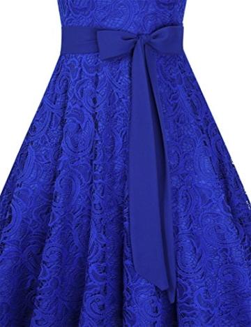 KOJOOIN Damen Vintage Kleid Brautjungfernkleid Knielang Spitzenkleid Cocktailkleid mit neum Gürtel Empire Blau XL - 5