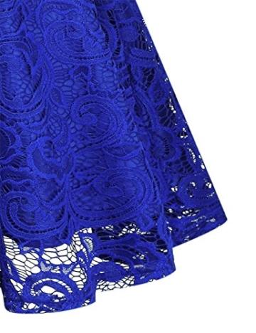 KOJOOIN Damen Vintage Kleid Brautjungfernkleid Knielang Spitzenkleid Cocktailkleid mit neum Gürtel Empire Blau XL - 6