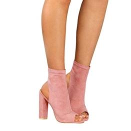 Kootk Damen Sommerschuhe Sandalen Peep Toe High Heels Sandalette 10cm Absatz Schuhe Kurz Stiefel Blockabsatz Pumps Damensandaletten Abendschuhe Rosa 38 - 1