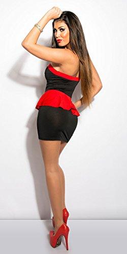 KouCla Bandeau-Minikleid mit Schößchen in Schwarz Rot - 2