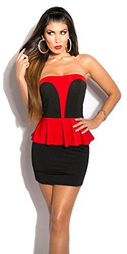 KouCla Bandeau-Minikleid mit Schößchen in Schwarz Rot - 1