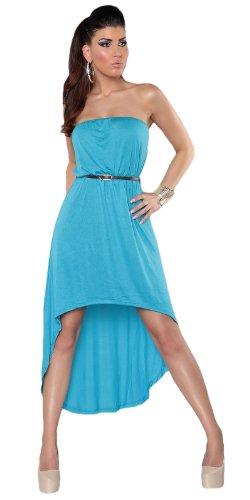 Koucla Damen Bandeau Kleid mit asymmetrischem Saum inkl. Gürtel Einheitsgröße (Gr. 32-36), türkis - 2