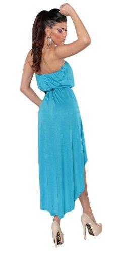 Koucla Damen Bandeau Kleid mit asymmetrischem Saum inkl. Gürtel Einheitsgröße (Gr. 32-36), türkis - 4