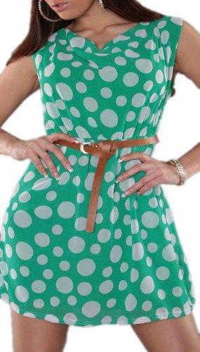 Koucla - Damen Etui Kleid Polka Dots mit Gürtel Einheitsgröße (Gr. 34-36), grün - 1