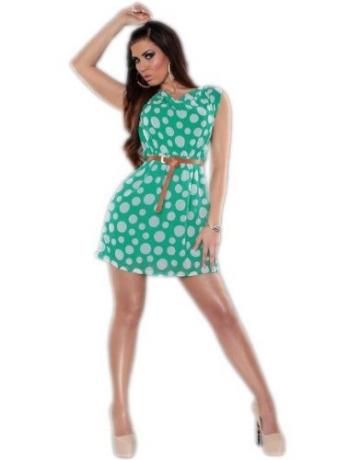 Koucla - Damen Etui Kleid Polka Dots mit Gürtel Einheitsgröße (Gr. 34-36), grün - 2