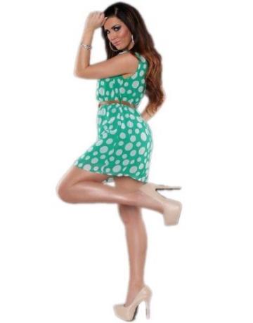 Koucla - Damen Etui Kleid Polka Dots mit Gürtel Einheitsgröße (Gr. 34-36), grün - 3