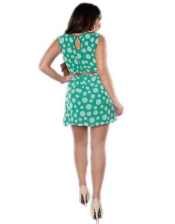 Koucla - Damen Etui Kleid Polka Dots mit Gürtel Einheitsgröße (Gr. 34-36), grün - 4