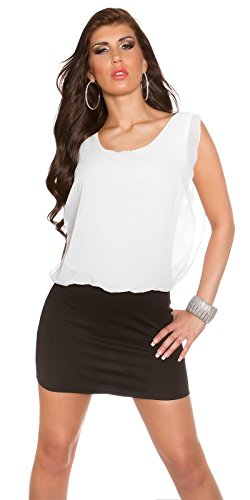 KouCla Damen Kleid Chiffon locker sitzendes Etuikleid (schwarz-weiß) - 1