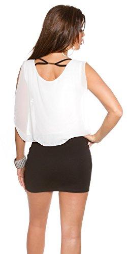 KouCla Damen Kleid Chiffon locker sitzendes Etuikleid (schwarz-weiß) - 2