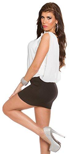 KouCla Damen Kleid Chiffon locker sitzendes Etuikleid (schwarz-weiß) - 3