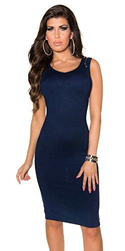 KouCla Damen Kleid knielang ohne Ärmel mit Reißverschluss Etuikleid V-Ausschnitt (marine) - 1