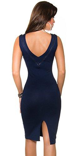 KouCla Damen Kleid knielang ohne Ärmel mit Reißverschluss Etuikleid V-Ausschnitt (marine) - 2